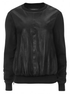 Muubaa Orka Black Leather Sweatshirt
