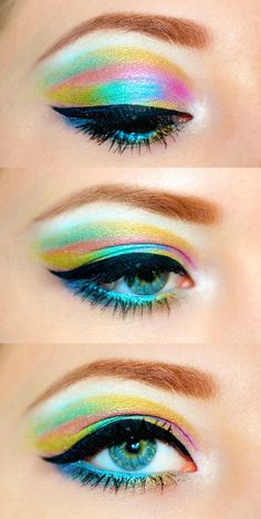 this is awesome and amazing. I love watercolors looks and I am so drawn to this rainbow watercolor Pretty Makeup, Love Makeup, Makeup Inspo, Makeup Art, Makeup Inspiration, Makeup Tips, Beauty Makeup, Makeup Looks, Hair Makeup