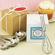 "Practical Favors / Kitchen Theme Favors Simply Elegant ""Love Beyond Measure"" Heart-Shaped Stainless-Steel Measuring Spoons  ""Whisked Away"" Heart-Shaped Stainless-Steel Whisk in White Box  favorcouture.theaspenshops.com"