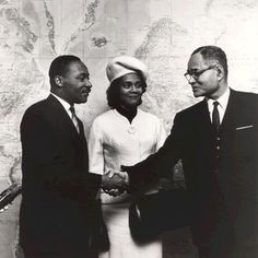 Martin Luther King, Jr. and his wife Coretta meet Ralph Bunch at the United Nations in New York City, December 4, 1964