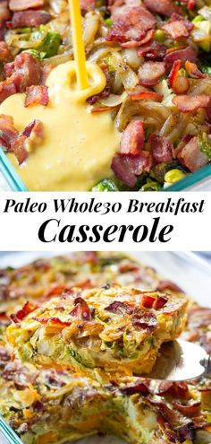 """This Paleo Breakfast Casserole is loaded with so many goodies and is perfect for brunch or to make ahead! Roasted sweet potatoes form the """"crust"""" and are topped with crispy bacon, roasted brussels sprouts, caramelized onions, and baked with eggs. Nutritional yeast adds the right amount of """"cheesy"""" flavor in this Whole30 friendly breakfast recipe. #paleo #whole30 #breakfast #cleaneating"""