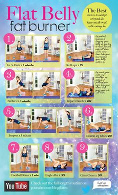 The best Flat Belly Fat Burning Workout out there. Print the...