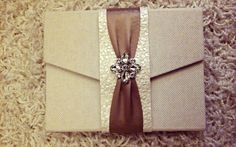 cream purse clutch wedding invitation with bling and ribbon from Chic Ink