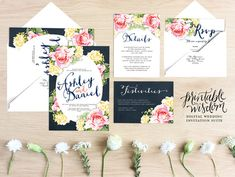 The Scarlett Suite, from the Printable Wisdom Design wedding invitation collection. Inspired by the style of the south, peonies, carnations, and
