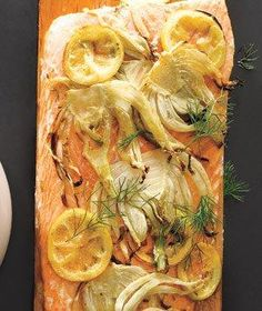Plank-Grilled Salmon With Lemon and Fennel.New way for us to do plank salmon! Fish Dishes, Seafood Dishes, Fish And Seafood, Seafood Recipes, Cooking Recipes, Main Dishes, Meal Recipes, Grilled Fish Recipes, Grilled Salmon