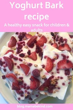 A quick and easy recipe for a healthy and tasty treat for adults and children alike. Healthy Snacks For Kids, Healthy Sweets, Yummy Snacks, Yummy Treats, Ice Lolly Recipes, Cereal Recipes, Yoghurt Lollies, Bark Recipe, Summer Food