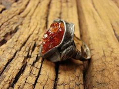 Raw Citrine - Druzy Citrine - Citrine Ring - Tiffany Method Ring - Electroplated ring  retro copper boho rustic gift old copper adjustable by GepArtJewellery on Etsy