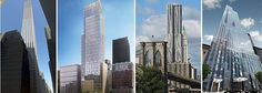 selection of new high-rise residential towers either under construction or completed in NYC. from left: 432 Park, 1214 Fifth, 8 Spruce and 157 W 432 Park Avenue, Under Construction, Towers, Skyscraper, Multi Story Building, Nyc, Skyscrapers, Tours, Tower