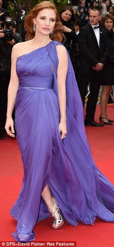 Purple reign: Jessica Chastain did a take on Grecian style wearing a beautiful purple dres...