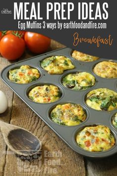 Easy and Healthy Breakfast Meal Prep Ideas that will save you time and money - egg muffins 3 ways so it never gets boring! Prepare them once and use all week to have stress-free mornings! #easymealprepideas #healthymealprepideas #mealprep #mealpreprecipes