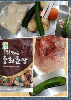 234. 韓國炸醬麵 ( 짜장면 ) 材料= 韓國炸醬,馬鈴薯,洋蔥,節瓜,豬肉 ( 後腿肉 ) 紅蘿蔔,小黃瓜,蔥,蒜頭,糖,麵 ( 拉麵 ) 太白粉