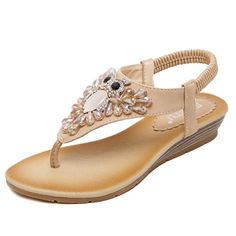 D2C Beauty Womens Owl Rhinestone Beads Fashion Flat Thong Sandals Apricot 9 M US -- To view further for this item, visit the image link.(This is an Amazon affiliate link and I receive a commission for the sales)