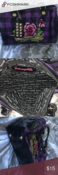 Bag Purple and black plaid Betseyville, Betsey Johnson bag Betsey Johnson Bags Shoulder Bags