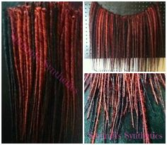 Red - Auburn - Black Blended/Solid Long Synthetic Dread Extensions #sammiisynthetics #syntheticdreads #smooth #long #blend