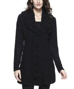 Another great find on #zulily! Black Crochet Wool-Blend Cardigan - Women #zulilyfinds