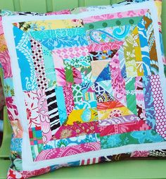 scrappy quilted pillow cover, sis boom