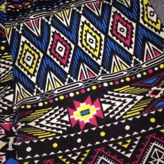 Leggings Pink, yellow, blue, black and white patterned leggings! Very comfortable, they just don't fit me anymore! Pants Leggings