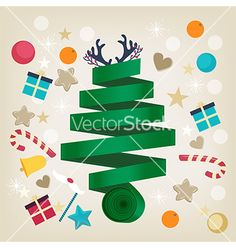 Twirled ribbon christmas tree card design vector by veralub on VectorStock®