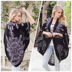 "Black new kimono scarf cocoon cardigan cover up 📍only black  📍📍 New Retails. Boho kimono scarf Mandala ,Henna print. cocoon cardigan wrap cape. Oversized, relaxed wrap. 👉Lightweight fabric. ⭐️100%  viscose ..,,Cocoon style  with kimono sleeves... ⭐️One size fits most. ⭐️Total length : 45"" approximately Boutique Accessories Scarves & Wraps"