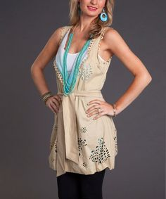 Take a look at this Beige & Teal Ombré Reversible Wrap Vest by Firmiana on #zulily today!