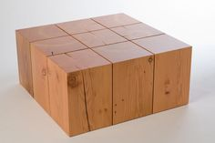 love this solid wood block coffee table created by MADE from reclaimed beams