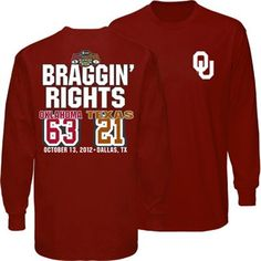 Oklahoma Sooners vs. Texas Longhorns 2012 Score Long Sleeve T-Shirt - Crimson size M