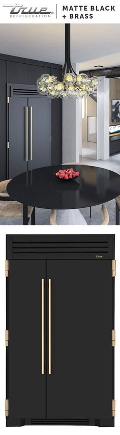 A Matte Black + Brass custom refrigerator in the kitchen screams elegance and is truly one of a kind. Build Your True.