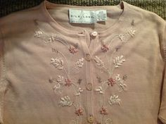 Silk Lore/Beth Terrell Beaded Embroidered Two PC Silk Sweater Set M  $35  eBay