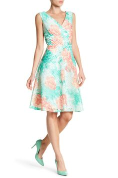 Surplice Neck Floral Dyed Fit-and-Flare Dress by Sandra Darren on @HauteLook