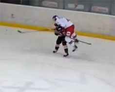 Defenseman Kristaps Zile delivered one of the strangest hits of 2014. Unless you think carrying your opponent 20 feet into the boards on a hip check is the norm.