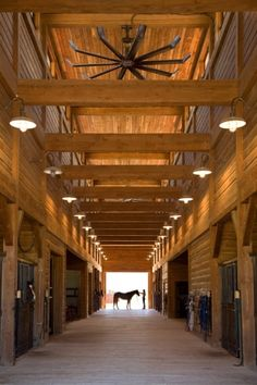 A modern, oversize fan keeps the fresh air circulating inside this Stevensville, Montana barn.[ RopesForLess.com ] #stables #horse #quality