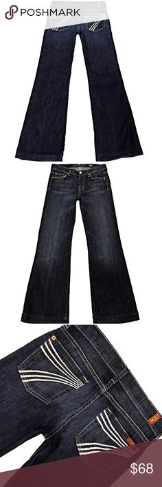 """7 For All Mankind """"Dojo"""" SZ 24 Inseam 29.5"""" (#116) A Super Cute Pair Of Lightly Worn 7 For All Mankind """"Dojo"""" Women's SZ 24 Flare Leg Dark Blue Wash White Stitched 7 Low-Rise Stretch Jeans. Light wear on hem Style# U115380S-380S Cut# 722099 Measurements: Waist: 28"""" Hips: 35"""" Front rise: 7.5"""" Back rise: 12.5"""" Inseam: 29.5"""" 7 For All Mankind Jeans Flare & Wide Leg"""