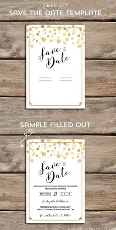 download and customize this free gold modern diy save the date template and then print as - Free Save The Date Postcard Templates