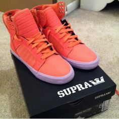 Supra Bright orange supra's with lavender sole. Size 8, but fits shoe size 7.5-8 comfortably! Great shoes that will definitely get noticed! Supra Shoes Sneakers