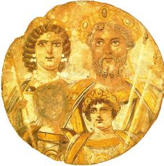 Severan Tondo from aroung 200 AD shows Roman Emperor Septimius Severus with his family: Julia Domna and their sons Geta and Caracalla. Geta's face has been removed after his murder by his brother Caracalla - result of damnatio memoriae. [887x900]