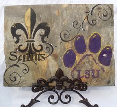 Saints Fleur de lis and LSU Paw Print Wall Art on Recycled New Olreans Roofing Slates