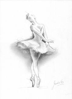 Ballerina - by Ewa Kienko Gawlik from Drawings Studies Art Gallery Ballerina Kunst, Ballerina Drawing, Ballet Drawings, Dancing Drawings, Cool Drawings, Pencil Drawings, The Ballerina, Dancer Drawing, Ballerina Shoes