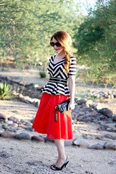 70s style zebra peplum full skirt
