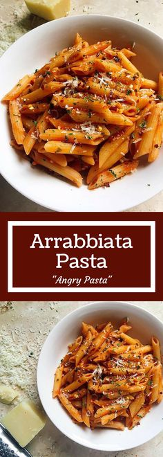 "Arrabbiata Pasta – Three Olives Branch Arrabbiata Pasta – also known as ""angry"" pasta. A classic red sauce with a slight spicy kick! Quick and easy Italian recipe to make and ready by the time your pasta is done! Vegetarian Pasta Recipes, Cooking Recipes, Healthy Recipes, Healthy Food, Easy Recipes, Penne Pasta Recipes, Quick Pasta Recipes, Cooking Ideas, Plat Vegan"