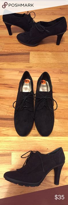 "Tahari Black Suede Heels Never worn. Beautiful condition. Heel is about 3.75"" high. Tahari Shoes Heels"