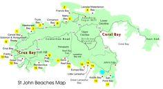 map of beaches on st john