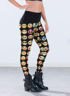 Emoji Print Leggings BLACK - GoJane.com
