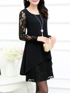 Shop Elegant Dresses - Black A-line Elegant Guipure Lace Floral Elegant Dress online. Discover unique designers fashion at PopJuLia.com.