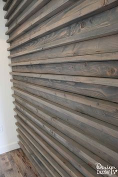 Modern Farmhouse Home Tour This wall treatment is unique! Part of a modern farmhouse home tour House Cladding, Timber Cladding, Farmhouse Homes, Modern Farmhouse, Wood Wall Design, Slat Wall, Exterior Siding, Easy Wall, Cottage Interiors