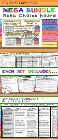 7th Grade Math Choice Board - ALL CCSS Standards - These five enrichment menu projects are an amazing differentiation tool that not only empowers students through choice but also meets their individual needs.   This resource includes all five of my 7th grade math enrichment choice board menu projects