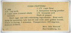 Family Recipe Friday ~ Corn Fritters #genealogy #familyhistory