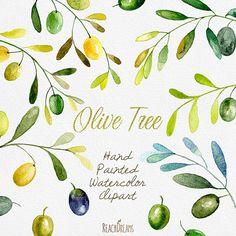 Acuarela de oliva imágenes prediseñadas. Arte de la pintura verde oliva de mano, DIY invitaciones, invitaciones de boda, rústico, descarga inmediata