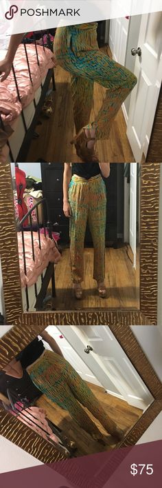 Vintage 60s Psychadelic lightweight pants Large Omg you guys- these are freaking fabulous. Size 34 inch waist, high waisted. Inseam 29-30 inches. They have this cool pinhole detail throughout, and the edges are not overlocked. ( vintage collectors will know what I mean ) Vintage Pants Straight Leg