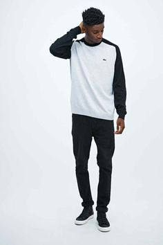 Lacoste Live Raglan Crew Neck Jumper in Black and Grey