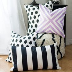 The easiest way to make custom pillow covers WITHOUT sewing!  Plus, instructions on how one these covers was painted.